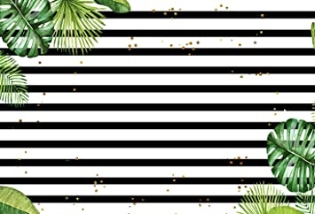 Amazon Com Mehofoto Photography Backdrops Black And White Stripe Green Leaves Gold Dots Birthday Party Photo Studio Background Banner 8x6ft Camera Photo