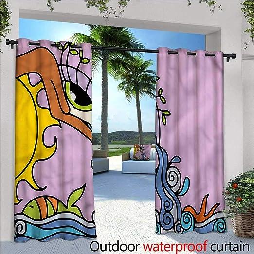Cortinas de Patio de Ojo cálido Abstracto Vibrante óptico Exterior Cortina para Patio, Exterior Patio Cortinas: Amazon.es: Jardín