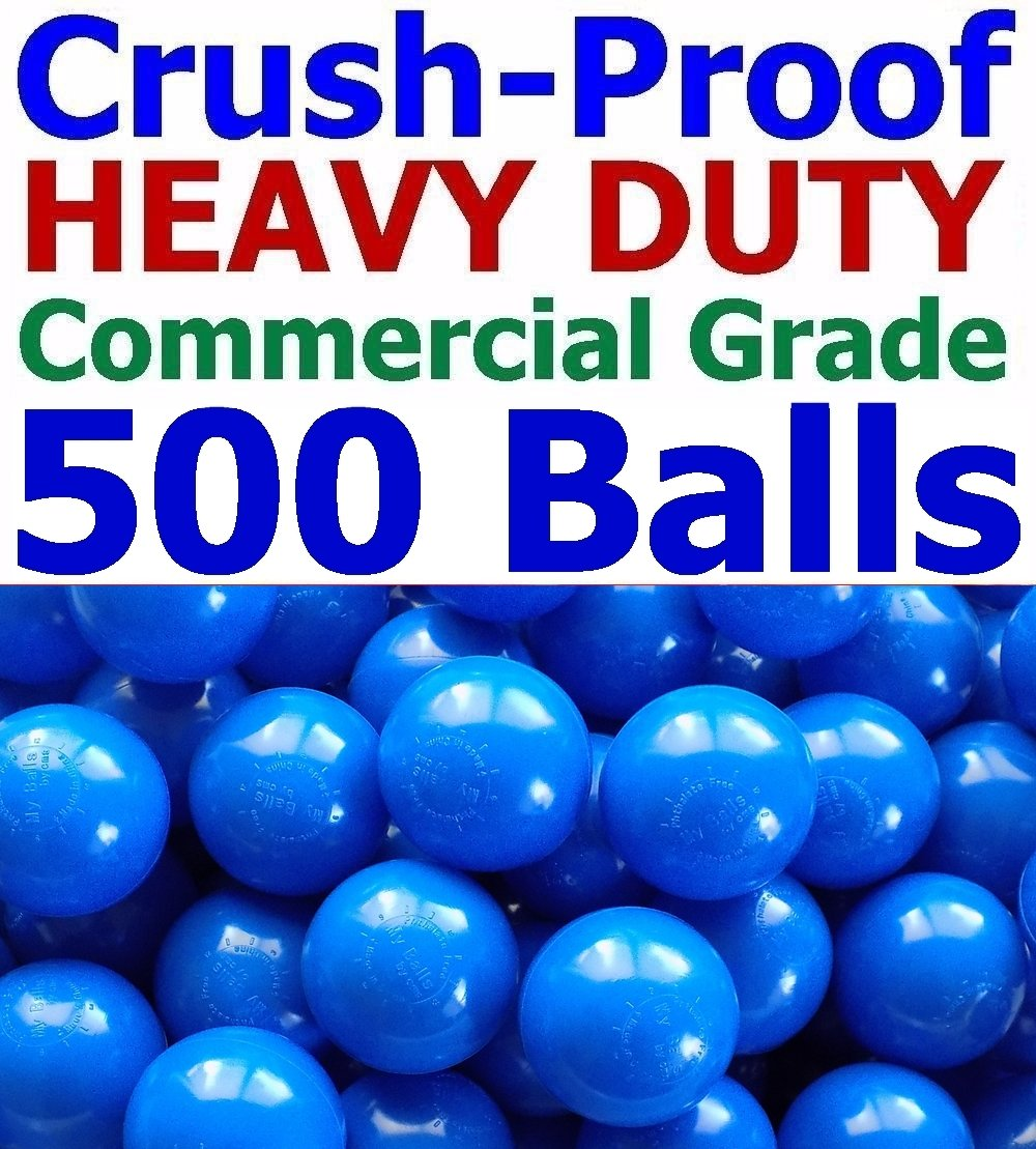 My Balls Pack of 500 Jumbo 3'' Blue Color Ball Pit Balls - Air-Filled Crush-Proof in 5 Colors Phthalate Free BPA Free PVC Free