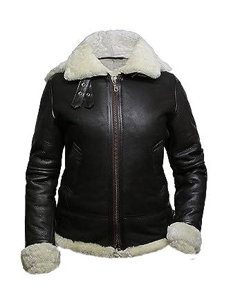 Absy Womens Shearling Sheepskin Leather Bomber Flying Aviator Jacket
