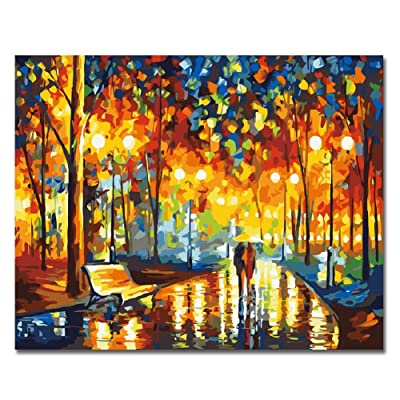 LIUDAO Paint by Number for Adult Oil Painting Kit - Beautiful Rainy Day, Couple - 16x20 Inches Without Frame: Home & Kitchen