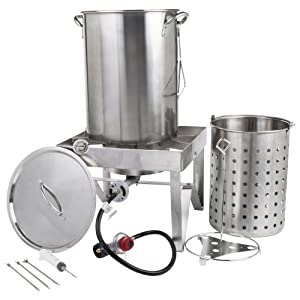 """Backyard Pro All-in-One Kit All Stainless Steel 30Qt. Turkey Fryer Kit/Steamer Kit - 55,000 BTU/Outdoor Propane Fry Kit Cooking + 12"""" Probe Thermometer + 3-Piece Skewer Set + 1 oz. Marinade Injector"""