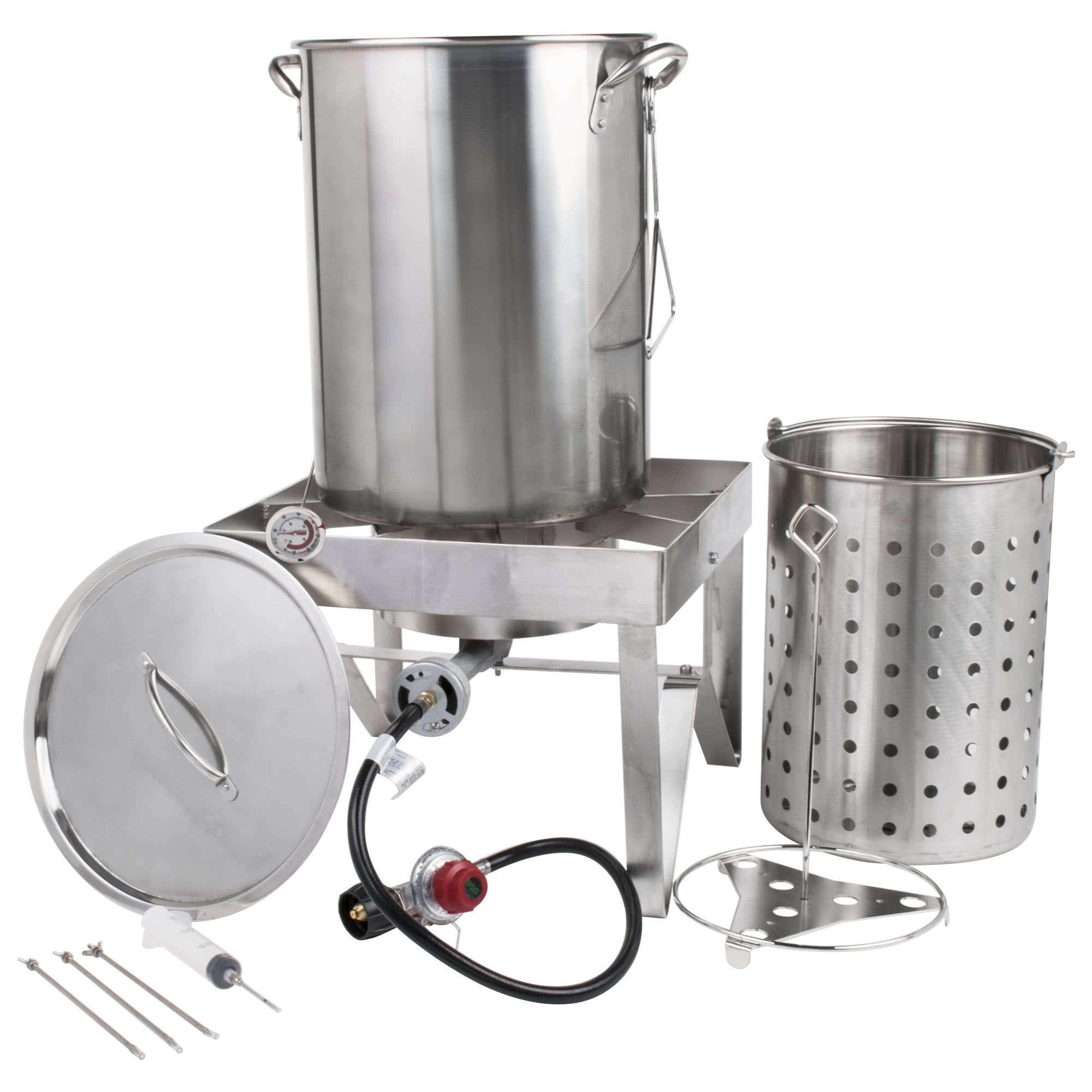 Backyard Pro All-in-One Kit All Stainless Steel 30Qt. Turkey Fryer Kit/Steamer Kit - 55,000 BTU/Outdoor Propane Fry Kit Cooking + 12'' Probe Thermometer + 3-Piece Skewer Set + 1 oz. Marinade Injector