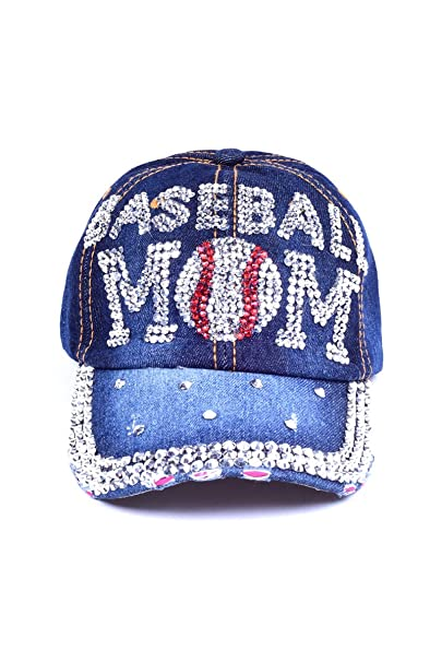 Denim Rhinestone Bling Sports Mom Baseball Cap Hat (Baseball Mom) at ... 921b7a7854d