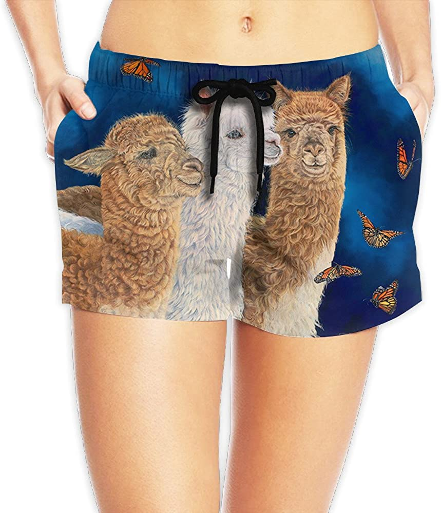 Womens Three Alpaca Llama and Butterflies Beach Short Swim Short Hot Pants for Summer