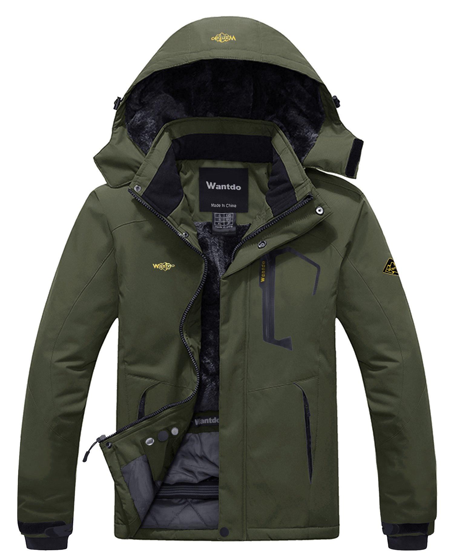 Wantdo Men's Waterproof Fleece Ski Jacket Windproof Snow Jacket Army Green S