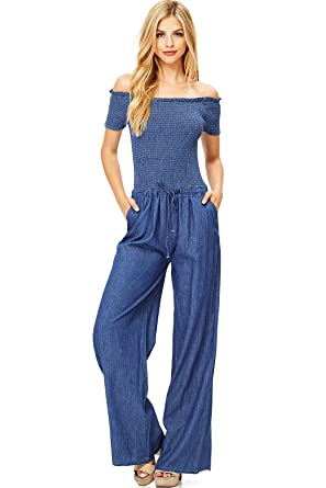 bfb2b469a95f Amazon.com  Hendi Women s Juniors Off-Shoulder Denim Jumpsuit  Clothing