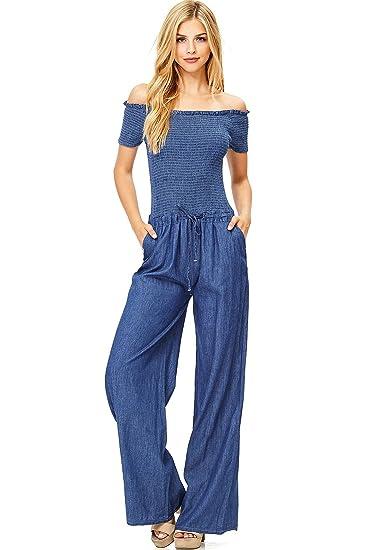 Amazoncom Hendi Womens Juniors Off Shoulder Denim Jumpsuit Clothing