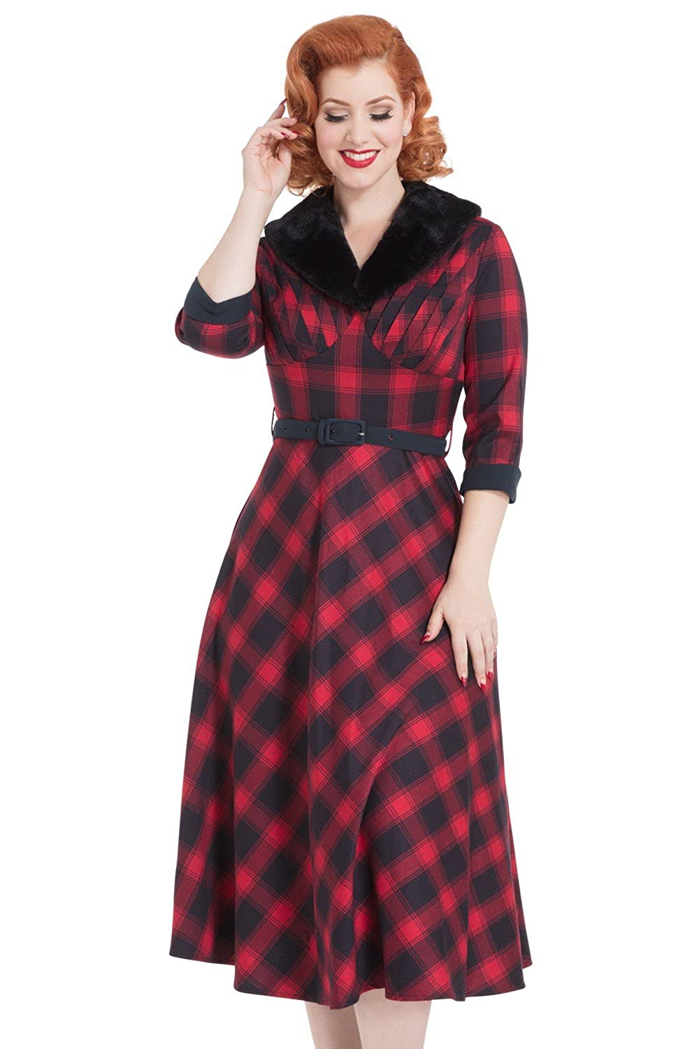 1950s Housewife Dress | 50s Day Dresses Voodoo Vixen Bettie Plaid Check Vintage Retro 50s Faux Fur Evening Party Dress $69.99 AT vintagedancer.com
