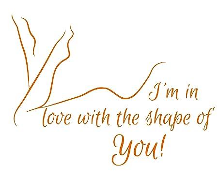Ed Sheeran Shape of you love Song Music Lyrics Quote Sticker Bedroom Wall  Art (Orange)
