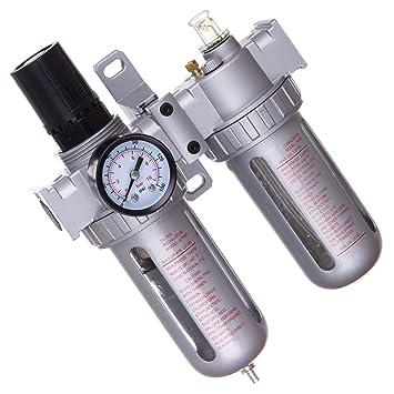 Unidad de mantenimiento de aire comprimido 10um manorreductor Lubricador para compresor Impacto: Amazon.es: Bricolaje y herramientas