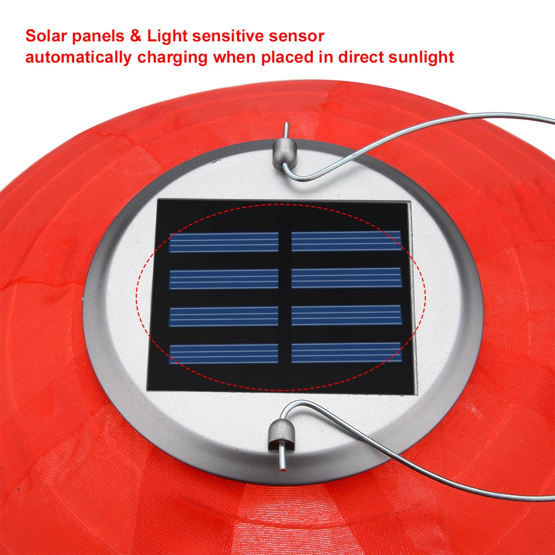 uxcell 2 Packs Red 12'' Solar Powered Lanterns Hanging Solar Lamps for Garden by uxcell (Image #4)