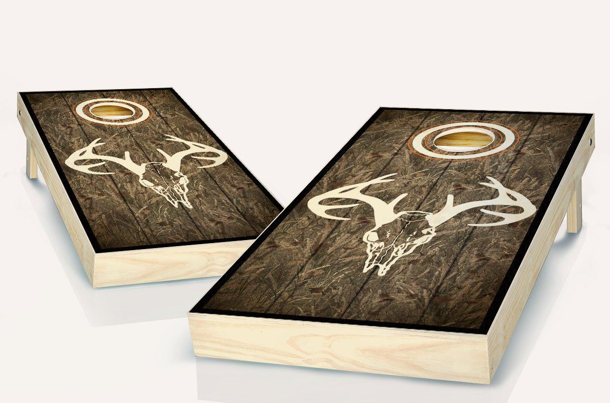 Steer Deer Skull Camo Stained Custom Cornhole Boards Regulation Size Game Set Baggo Bean Bag Toss + 8 ACA Regulation Bags by Steer Deer Skull Camo