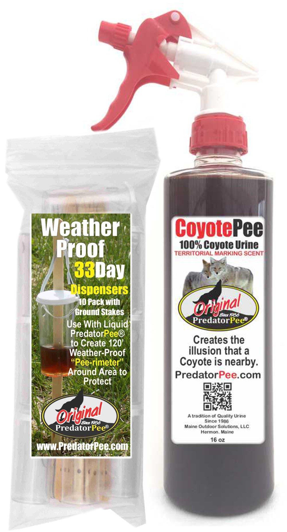 PredatorPee - 100% Pure Coyote Urine - 16oz Spray Bottle Combo with 33 Day Dispensers by PredatorPee