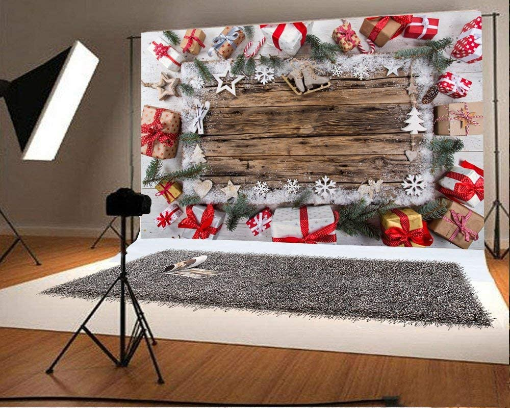 10x6.5ft Christmas Backdrop Gifts Box Pine Twigs Snowflakes Candy Cane Stars Rustic Wood Plank Winter Snow Photography Backgrounds Children Adults Photo Backdrop Studio