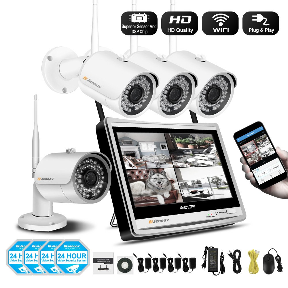 【Newest Strong Version WiFi】 Jennov Security Camera System Outdoor Wireless 4 Channel HD 1080P 12 Inch Monitor WiFi Home IP Video Surveillance Night Vision NVR Kit (NO HDD) by Jennov