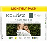 Eco by Naty Baby Diapers, Size 1, Plant-based with 0% Oil Plastic on Skin, One Month Supply, Size 1 (100 Count)