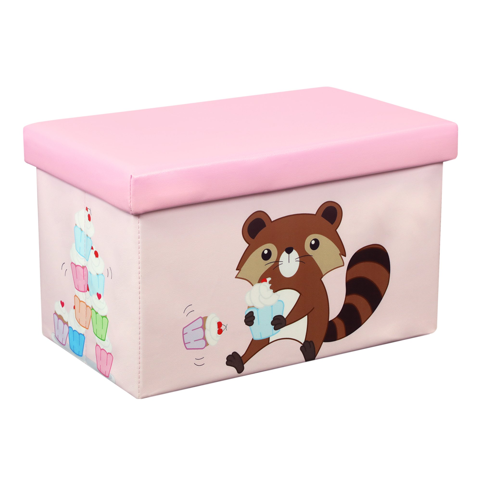 Otto & Ben 23'' Toy Box - Folding Storage Ottoman Chest with Foam Cushion Seat, Washable Faux Leather Foot Rest Stools for Kids, Raccoon and Cupcake