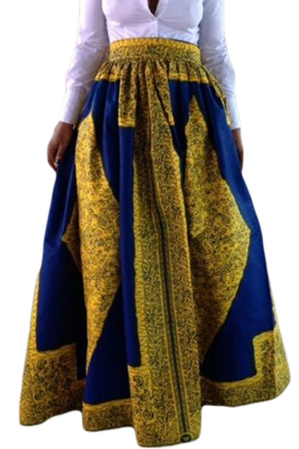 Dearlovers Beach Skirt Casual Traditional African Print Maxi Skirts Medium Yellow