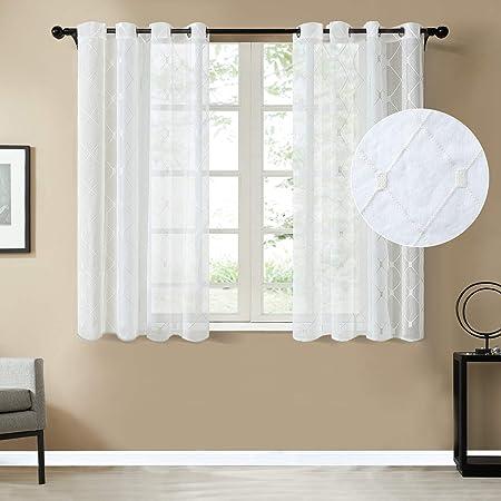 topfinel lot de 2 rideaux en voile lin a oeillets brode losanges voilage blanc de fenetre 140 x 160 cm decor salon chambre adulte cuisine