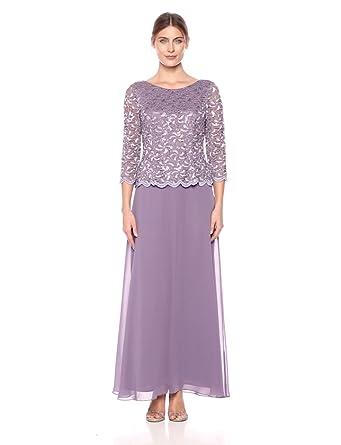 651aace536 Alex Evenings Women s Standard Long Mock Dress with Full Skirt (Petite and Regular  Sizes)
