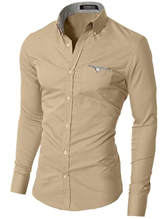MODERNO Mens Button Down Shirts Casual Slim Fit Long Sleeve ...