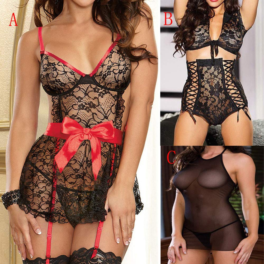 Womens Sexy 2PCS Underwear Lingerie Lace Perspective Bow Temptation Nightdress One Size (B) by Tanlo (Image #5)