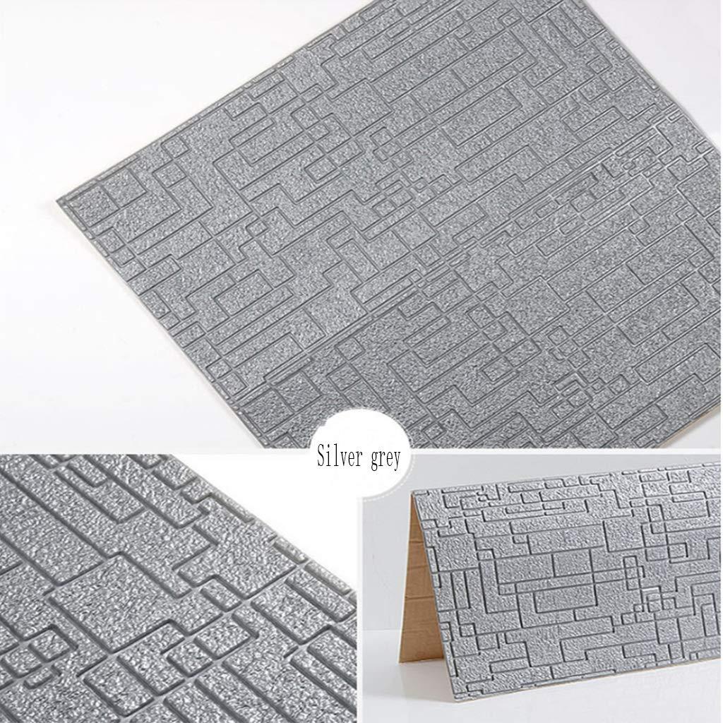 YNFNGXU Autocollant Papier Peint 3D Color : Silver grey, Size : 35pack Décoration De Fond TV Salon Autocollant Isolant Imperméable Imperméable À Leau Décoration De Papier Peint 70x70cm
