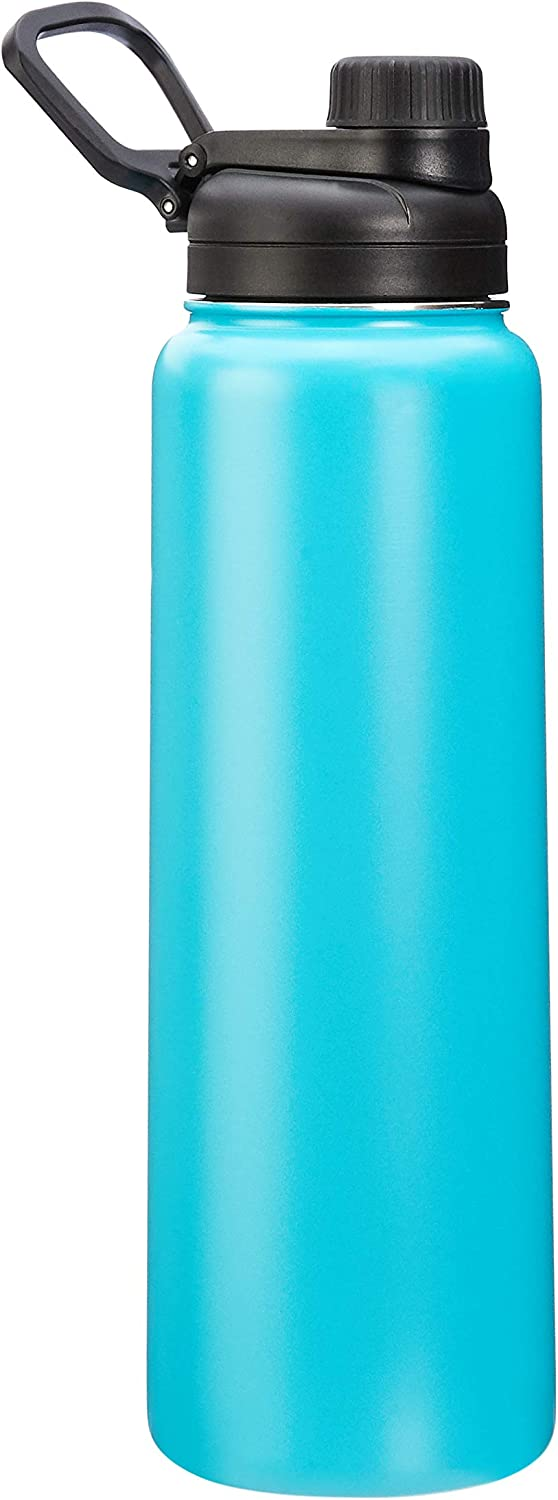 AmazonBasics Stainless Steel Insulated Water Bottle with Spout Lid – 30-Ounce, Teal