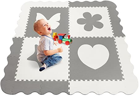 Sorbus Baby Play Mat Tiles with Borders – 59.5 x 59.5 Foam Play Mat for Baby, Soft Safe Baby Playground, Protective Thick Non-Toxic Crawling Mat, for Infants and Toddlers Grey White