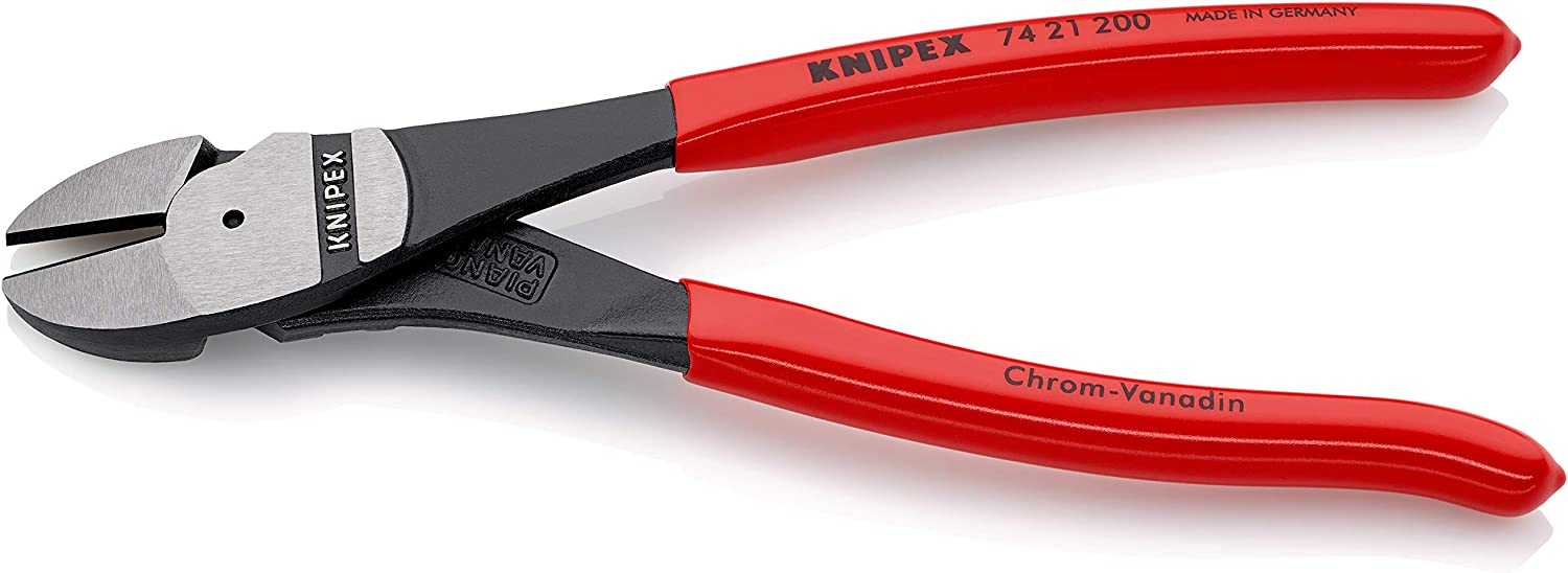 Knipex 74 21 200 8-Inch High Leverage Angled Diagonal Cutters
