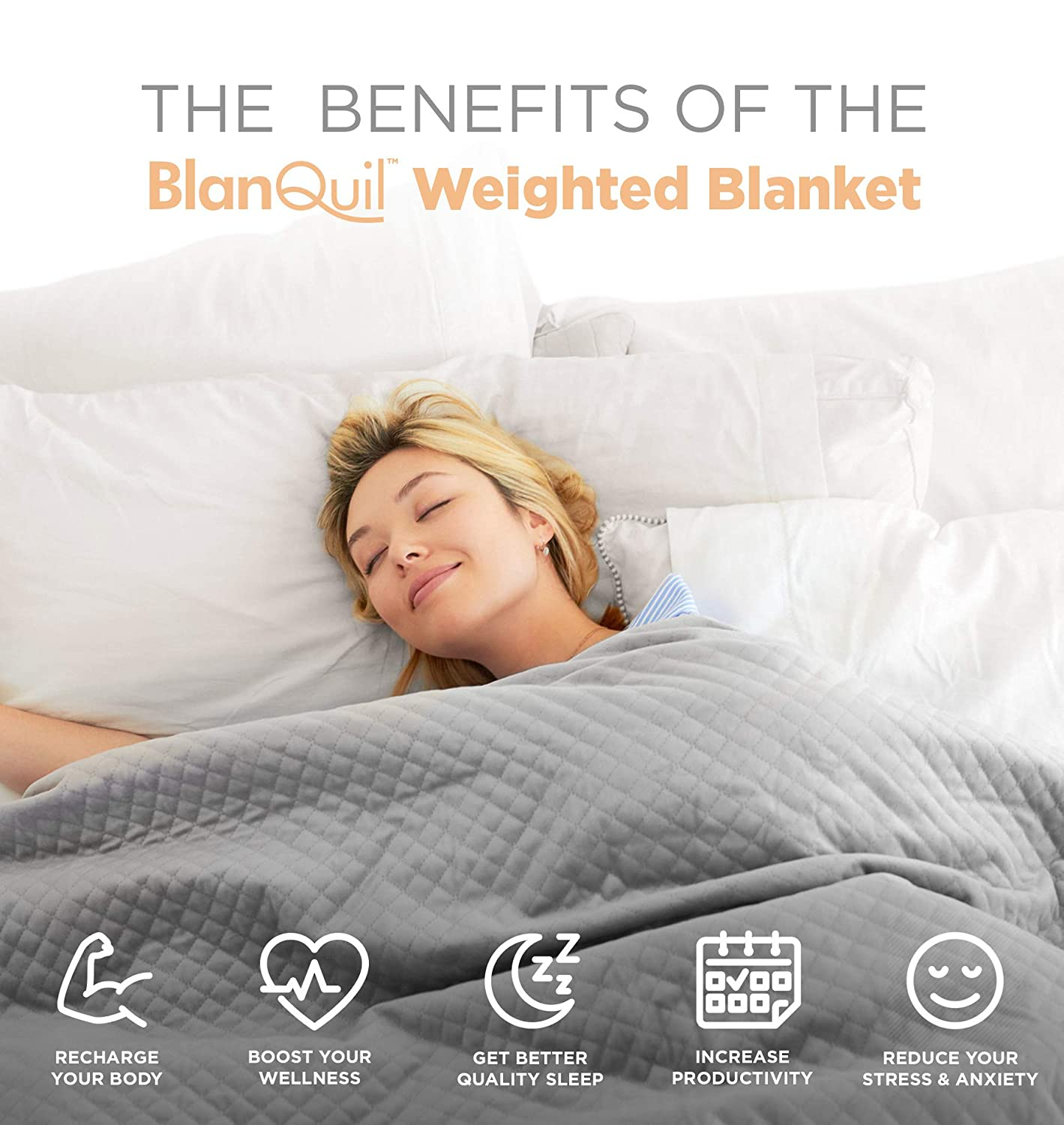 Amazoncom Blanquil Quilted Weighted Blanket Grey 20lb W