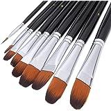 Pennelli artista professionali impostati black-9 pezzi, manico lungo, spazzole Perfetto per acquerelli, acrilici, pittura ad olio, gouache, gamma di colori incluso.