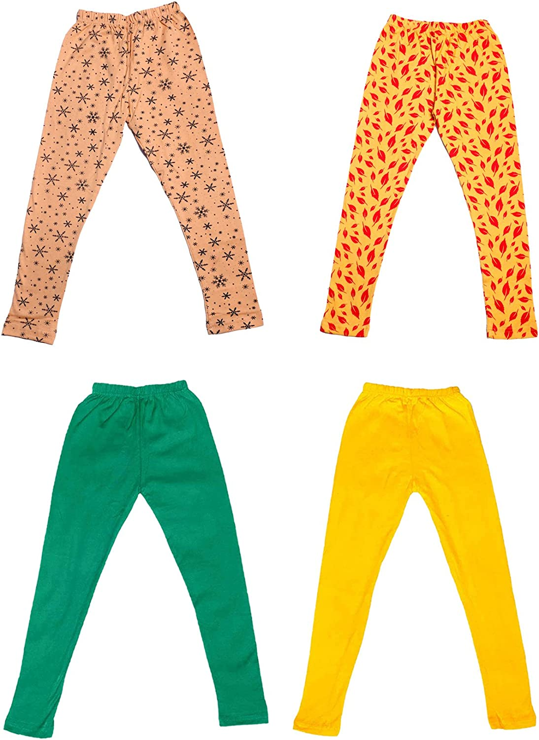 Pack Of 4 Indistar Girls 2 Cotton Solid Legging Pants and 2 Cotton Printed Legging Pants /_Multicolor/_Size-9-10 Years/_71406071819-IW-P4-32