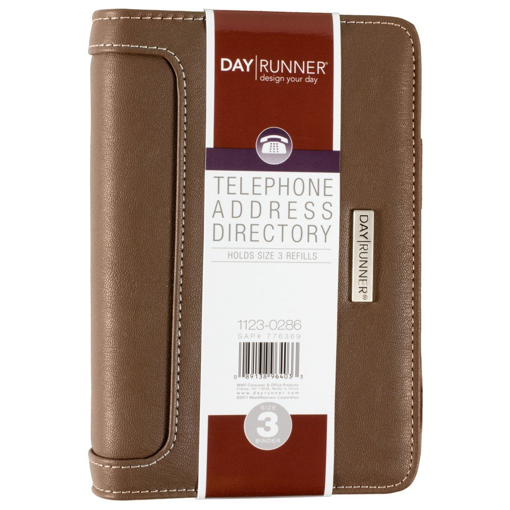 Day Runner Telephone/Address Book, 3-3/4'' x 6-3/4'', Polo, Brown (1123-0286) by Day Runner