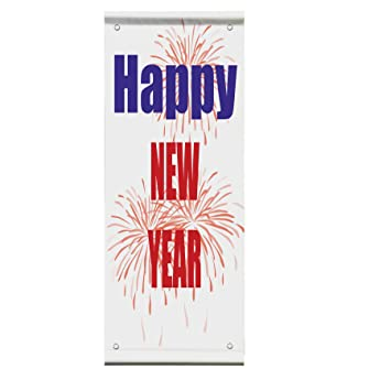 happy new year balloons double sided vertical pole banner sign 24 in x 48 in w