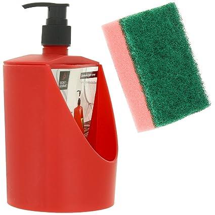 Promobo - Dosificador de lavavajillas con hueco para estropajo, color rojo