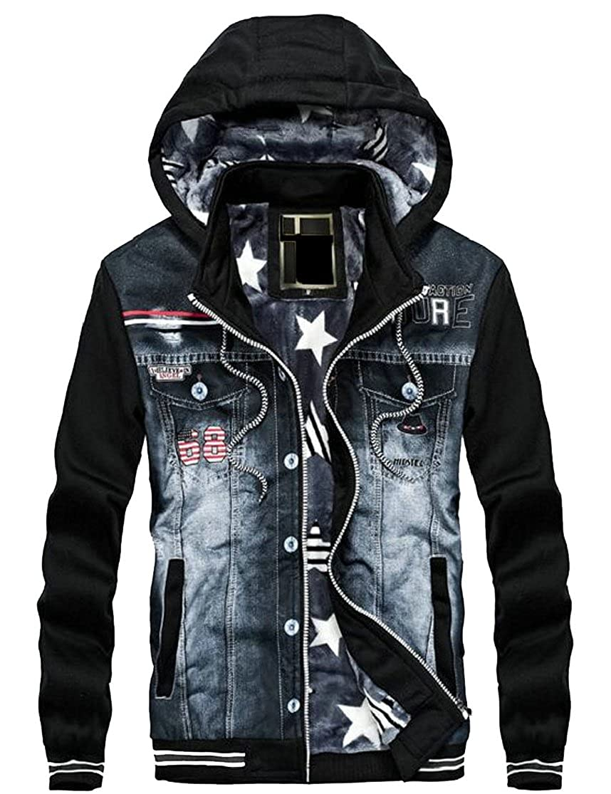 Esast Men's Winter Fleece Lined Denim Jackets Warm Jeans Coat with Hood Coat