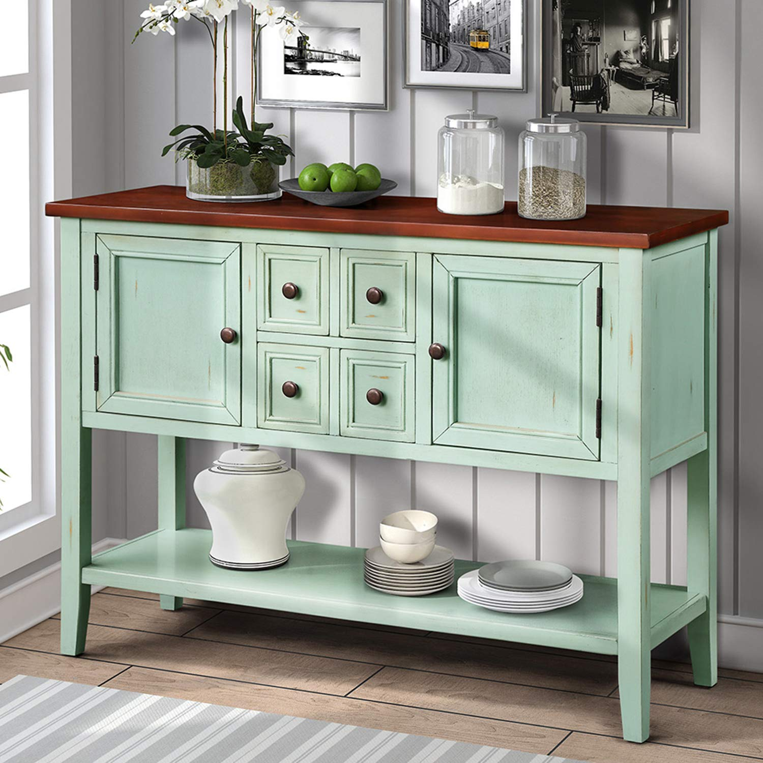 P PURLOVE Console Table Buffet Table Sideboard with Four Storage Drawers Two Cabinets and Bottom Shelf (Blue)