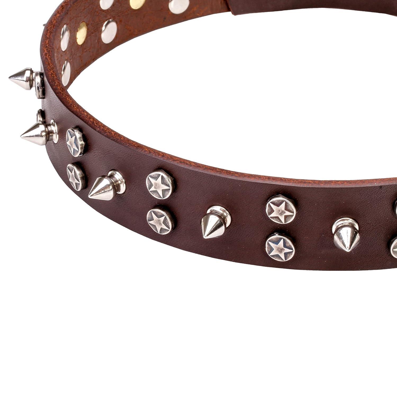 Collare per cani in pelle pelle pelle con finitura cromata. –  cielo star-studded – 1 1 4 inch (30 mm) di larghezza d5c045