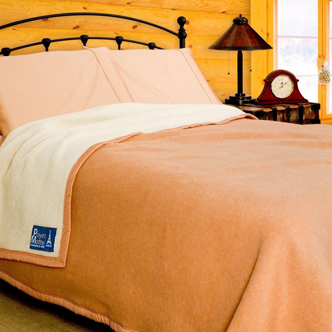 Poyet Motte Aubisque 500GSM Heavyweight 100-Percent Wool Blanket (King, Doe/Natural)