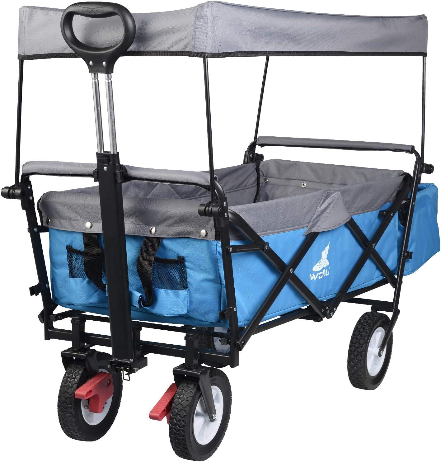 T/ürkis f/ür den Garten Camping Kinder WOLTU Bollerwagen faltbar Handwagen Gartenwagen mit Dach TW006tkg Rollen mit Bremse 80 kg belastbar Strandwagen mit Sonnenschutz