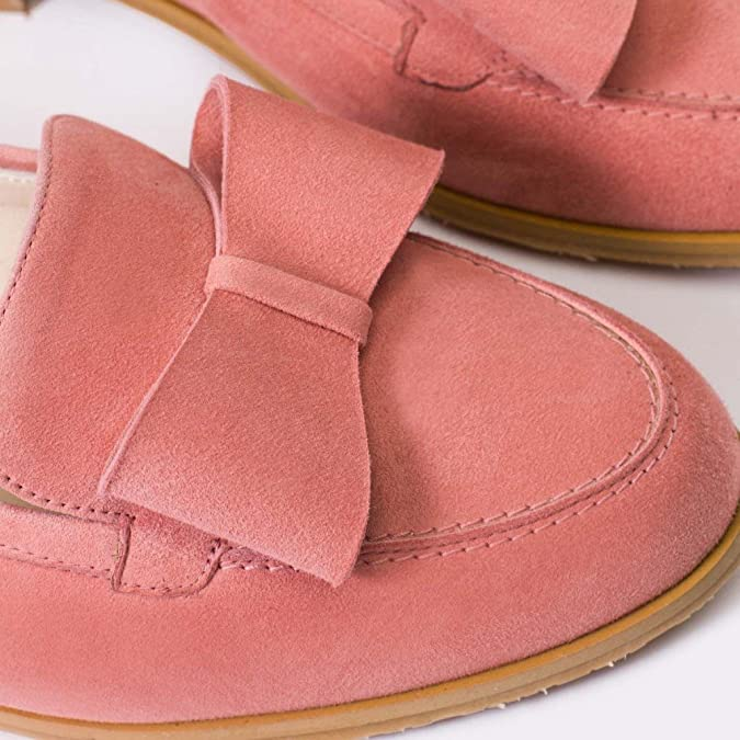 Amazon.com | GENNIA Damaris Pale Pink - Women Loafers, Made of Leather Suede, Type of Heel Flat of 1 cm | Loafers & Slip-Ons