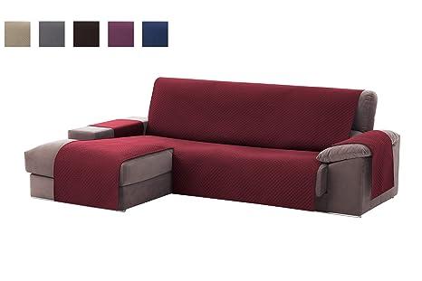textil-home Funda Cubre Sofá Chaise Longue Adele, Protector para Sofás Acolchado Brazo Izquierdo. Tamaño -240cm. Color Rojo (Visto DE Frente)