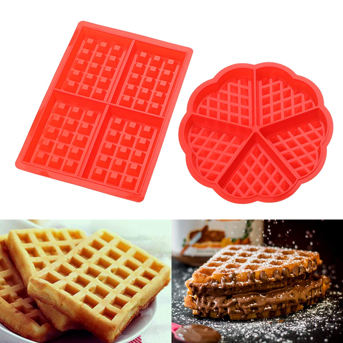 TECHSON Waffle Mold, 2 Pack Silicone Candy Chocolate Muffin Maker, Bakeware Accessories (Heart Shape&Square Shape)
