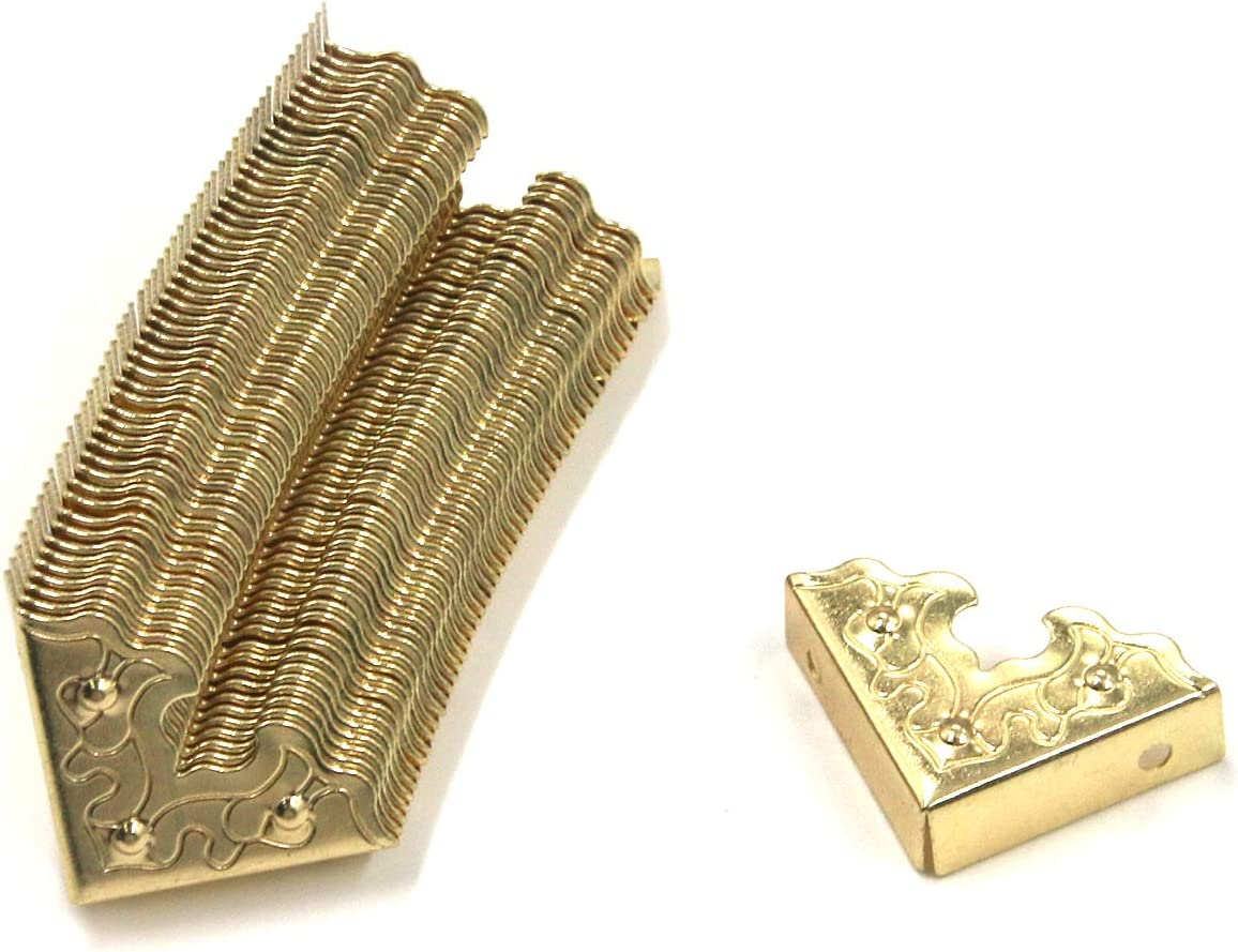 """Antrader 1"""" x 1"""" x 0.35"""" Corner Protector Metal Box Cabinet Furniture Corner Edge Safety Protector Guard, Gold Tone, Pack of 48"""