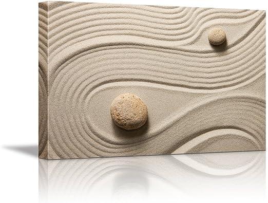 Amazon Com Canvas Wall Art Zen Garden Zen Stone And Sand