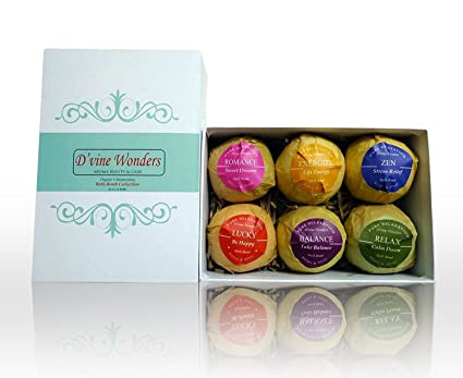 Bath Bombs Gift Set Of 6 By Dvine Wonders Organic Essential Oil Lush Spa