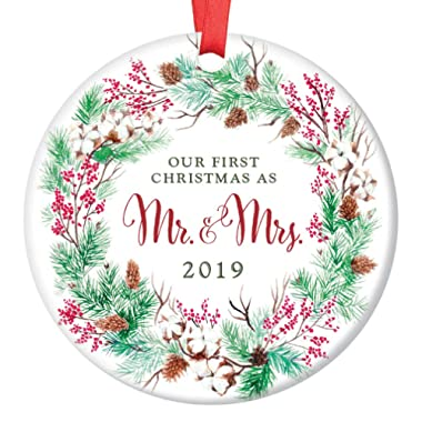Our First Christmas Mr & Mrs 2019 Ornament Pretty Evergreen Wreath Ceramic Keepsake Present for Newlywed Bride Groom 1st Holiday Married Couple 3  Flat Porcelain w Red Ribbon & Free Gift Box OR00020