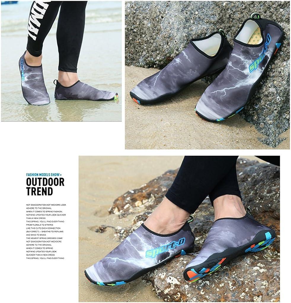 Chaussures deau Hommes Femmes Chaussettes de Sport Aquatique de Nager de Surf de Yoga de Nager de Surf de Plage Pieds Nus /à S/échage Rapide Aqua Water Shoes